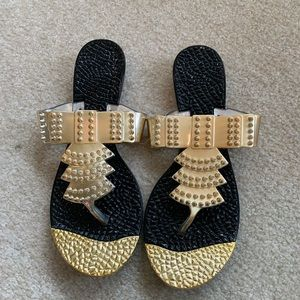 Shoes - Black and gold size 8 1/2 Aden sandals , new
